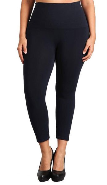 Tummy Tuck Capri Leggings - Ink Plus Size