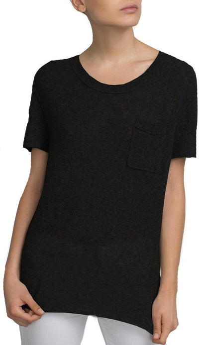 Cashmere Essential Pocket Tee Black