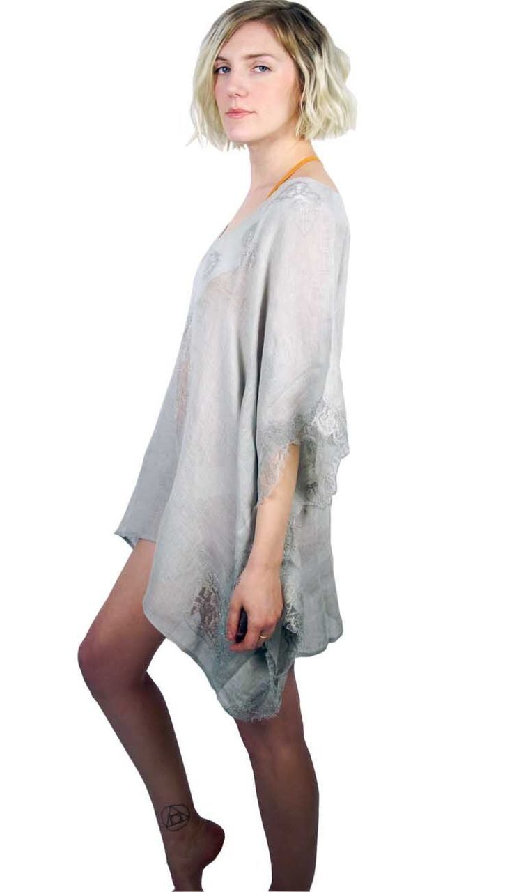 Tivoli Lace Short Tunic Coverup - Grey