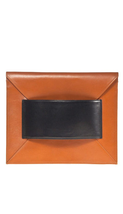 Franco Oversized Envelope Clutch Cognac