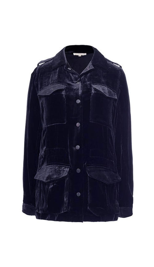 Velvet Army Jacket Navy