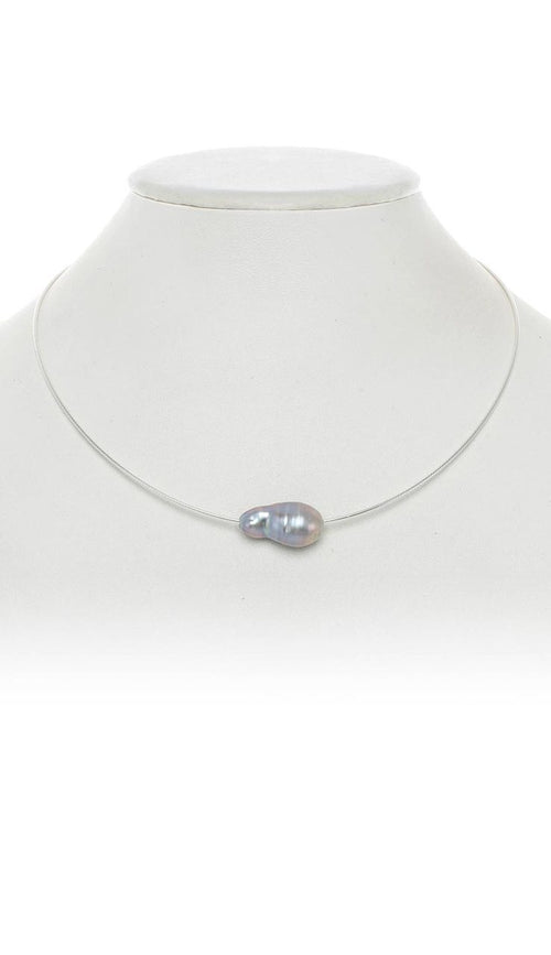 Baroque Pearl Choker Necklace - Grey on Silver