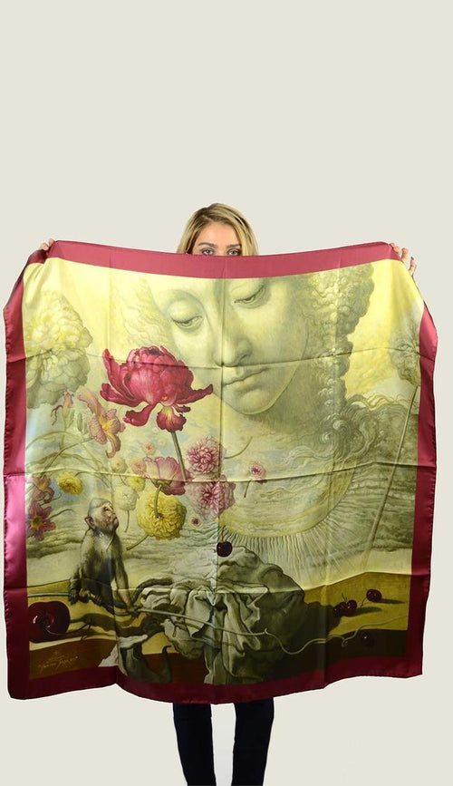 Monkey Watching Dancing Flowers Silk Scarf