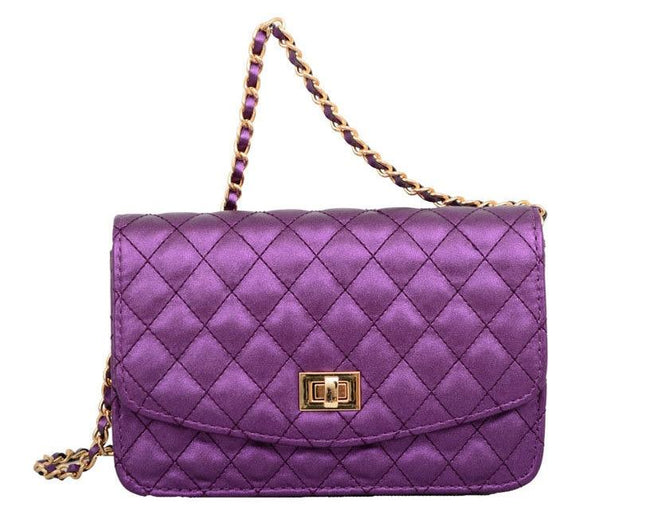 Amanda Quilted Crossbody Bag Metallic Purple