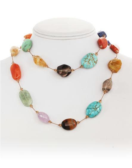 Multi-Stone Necklace - 35""