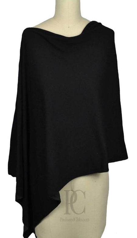 Split Color Cashmere Poncho Dress Topper