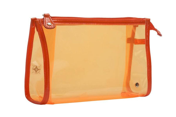 Medium Transparent Orange Zip Case