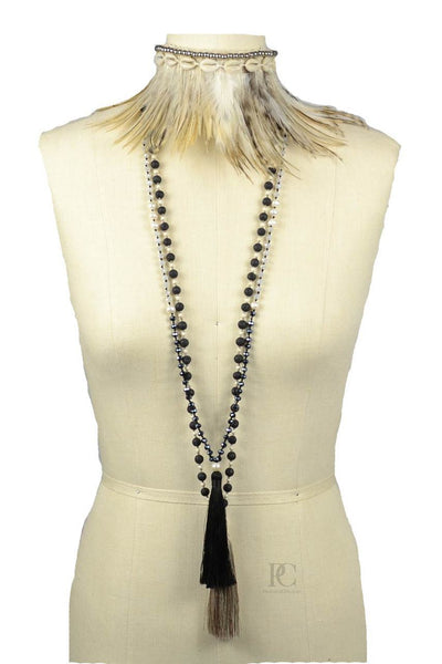 Feather Collar Necklace Medium Brown