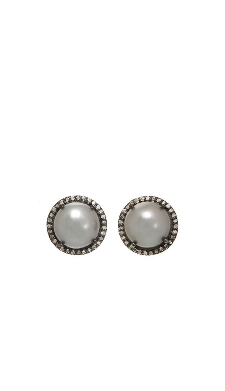 Grey Pearl & Diamond Stud Earrings