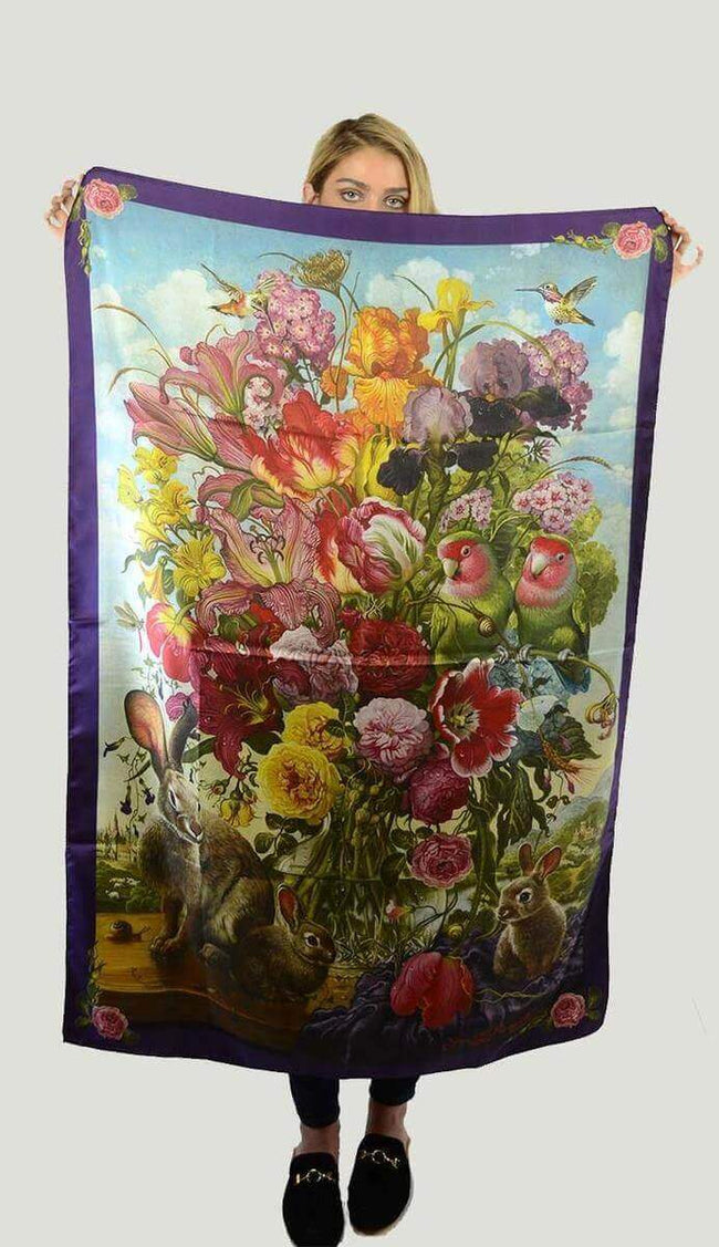 Floral with Bunnies Scarf