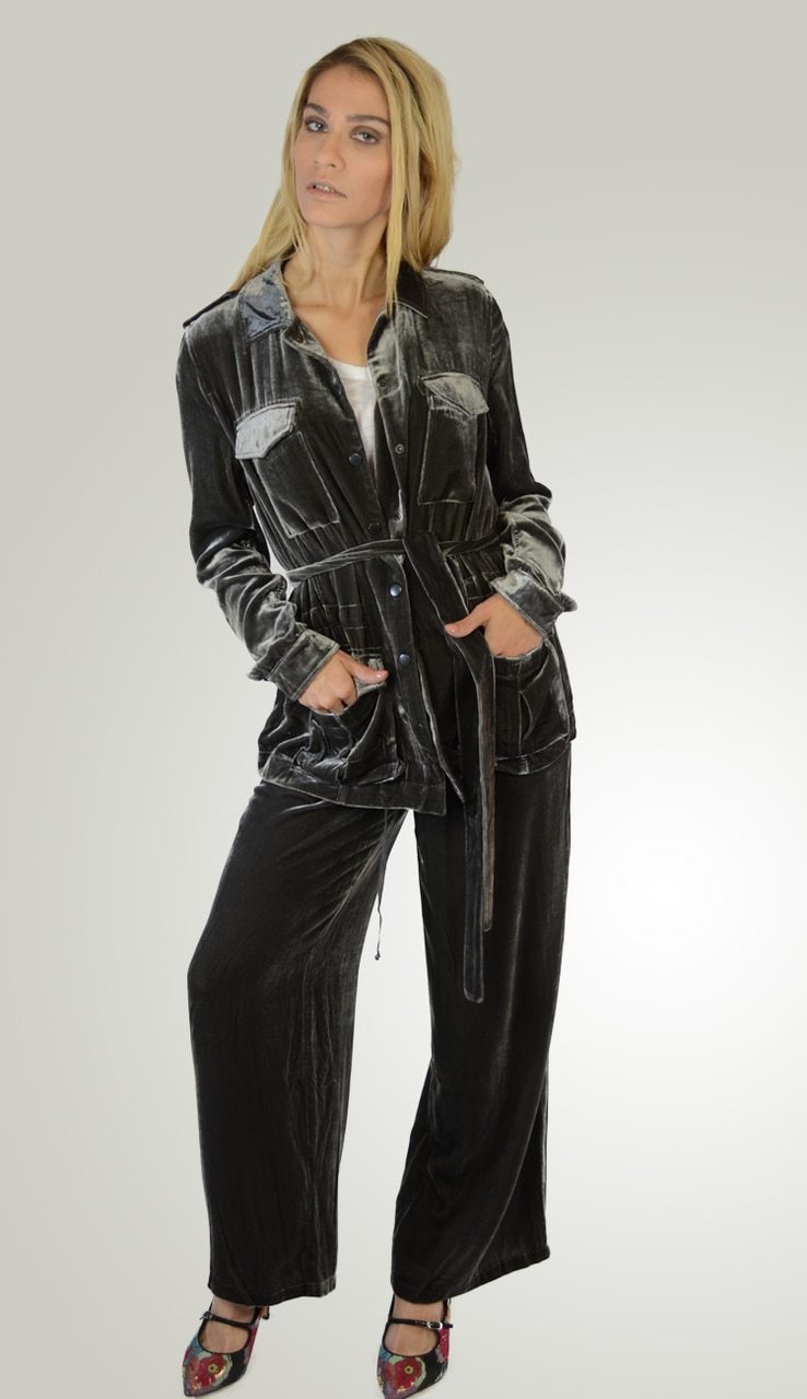 Velvet Wide Leg Pant - Black or Pewter