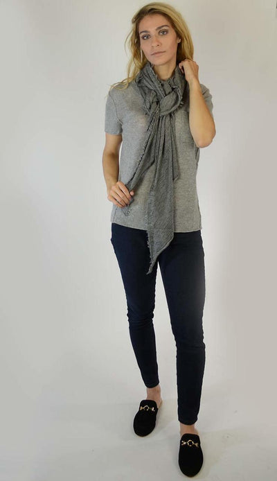 Cashmere Love Scarf  Charcoal Milk Micro Stripe
