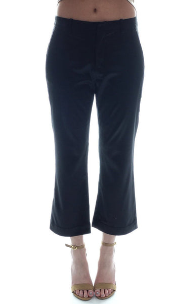 Ana Cropped Silk Pants Black