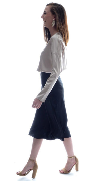 Hana Silk Skirt - Black