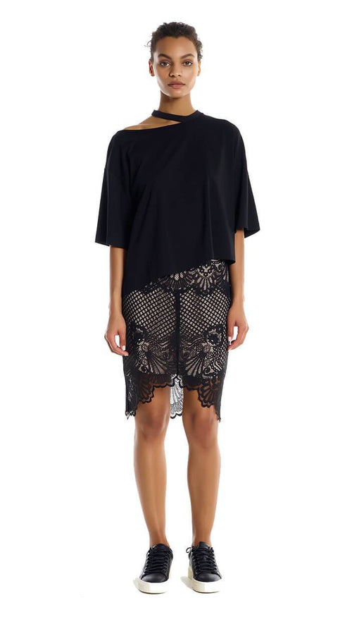 Scallop Lace Pencil Skirt