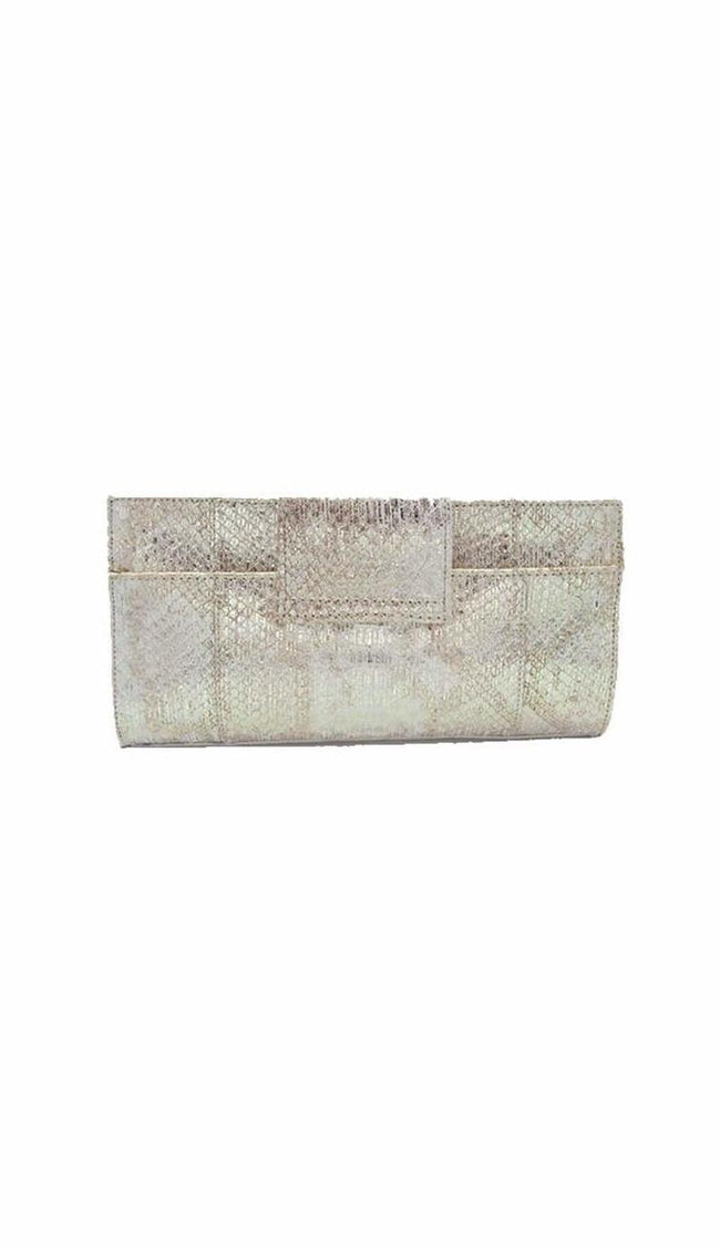 Carlos Falci Gold Metallic Snake & Diamond Clutch