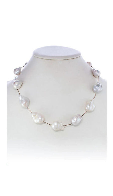 Platinum Pearls & Chains Short Necklace