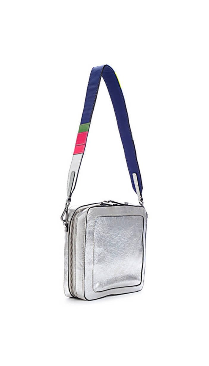 Square Metallic Silver Leather Bag
