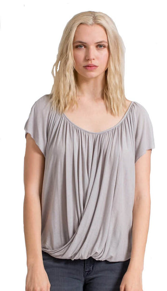 Lizabeth Drape Top - Grey Morning