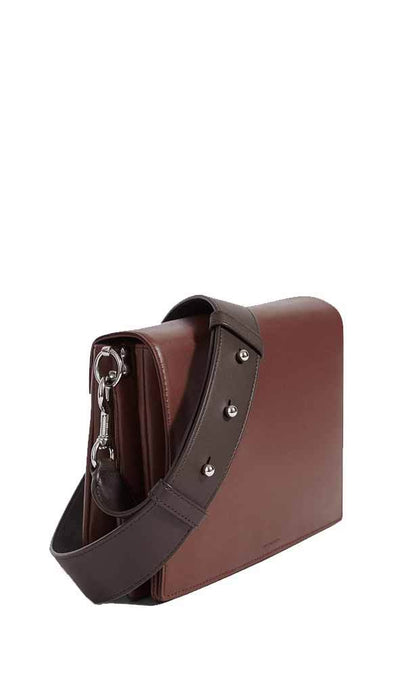 allsaints sideview of zep bag in oxblood