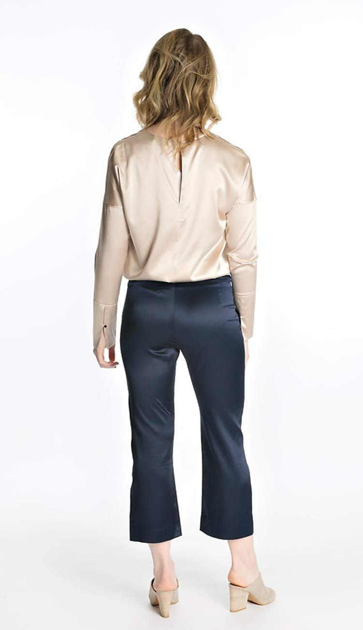 Ahlvar Gallery Ana silk pant in navy Back View