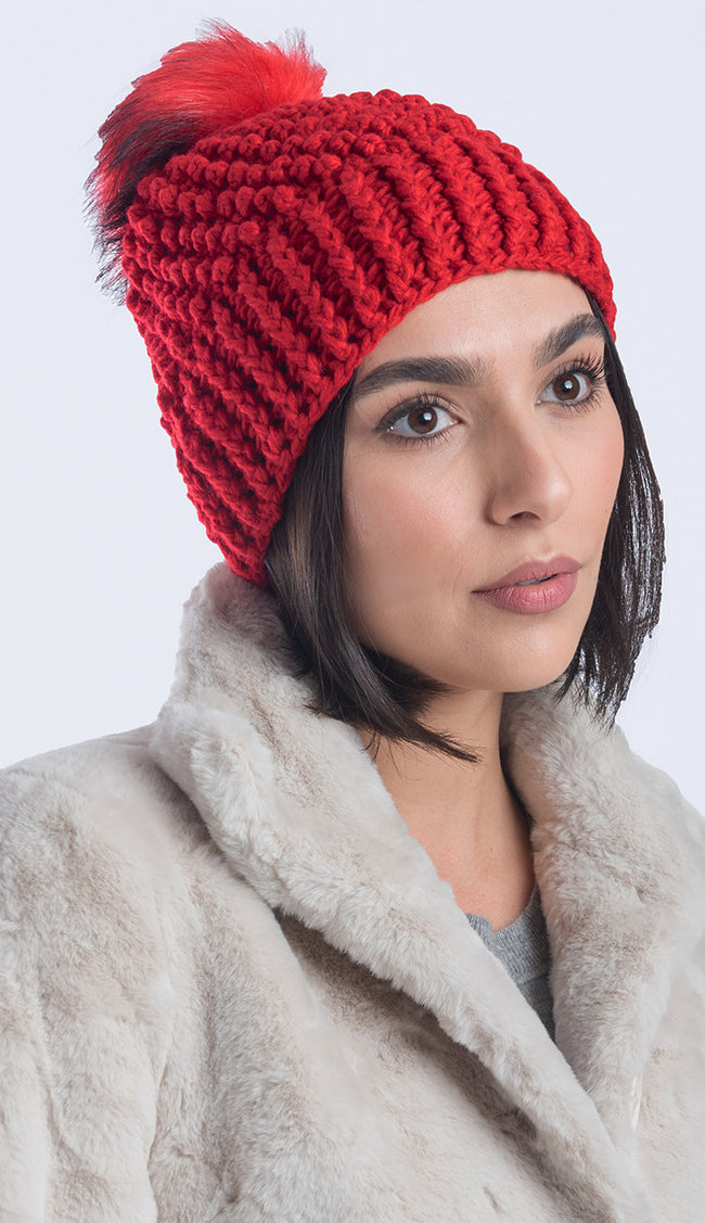 Crochet Hat with Faux Fur Pom Pom