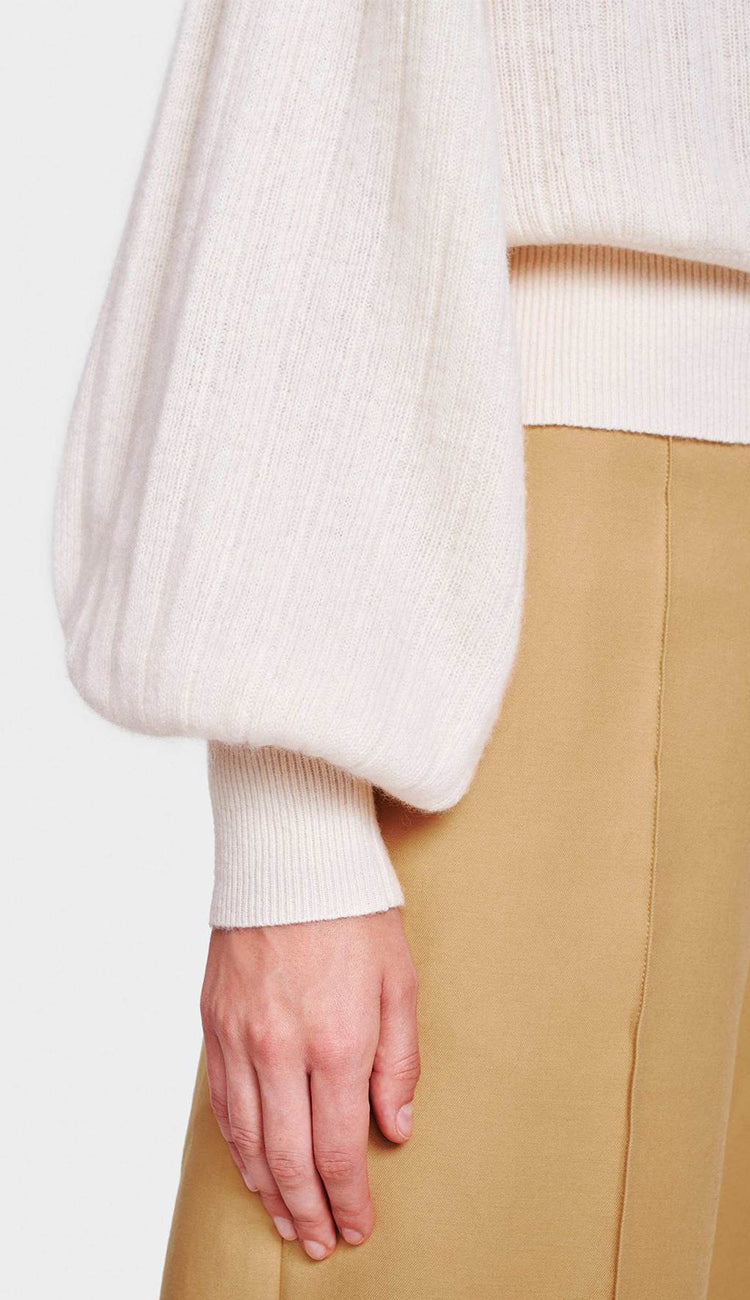 White and Warren Pleated Sleeve Crewneck in Pearl White sleeve detail