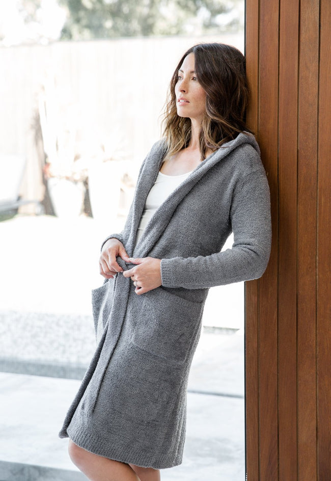 Dolce Hoodie Cover Up Robe in Charcoal Chenille by Little Giraffe front view