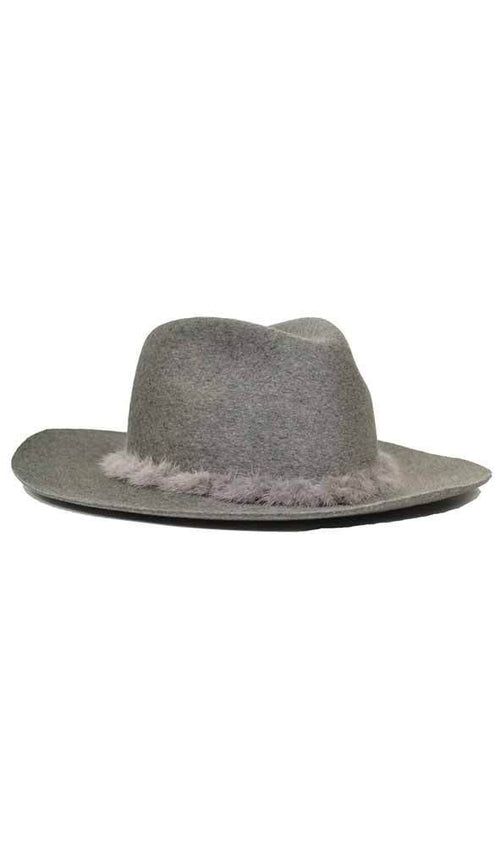 georgina relaxed fedora in heather grey