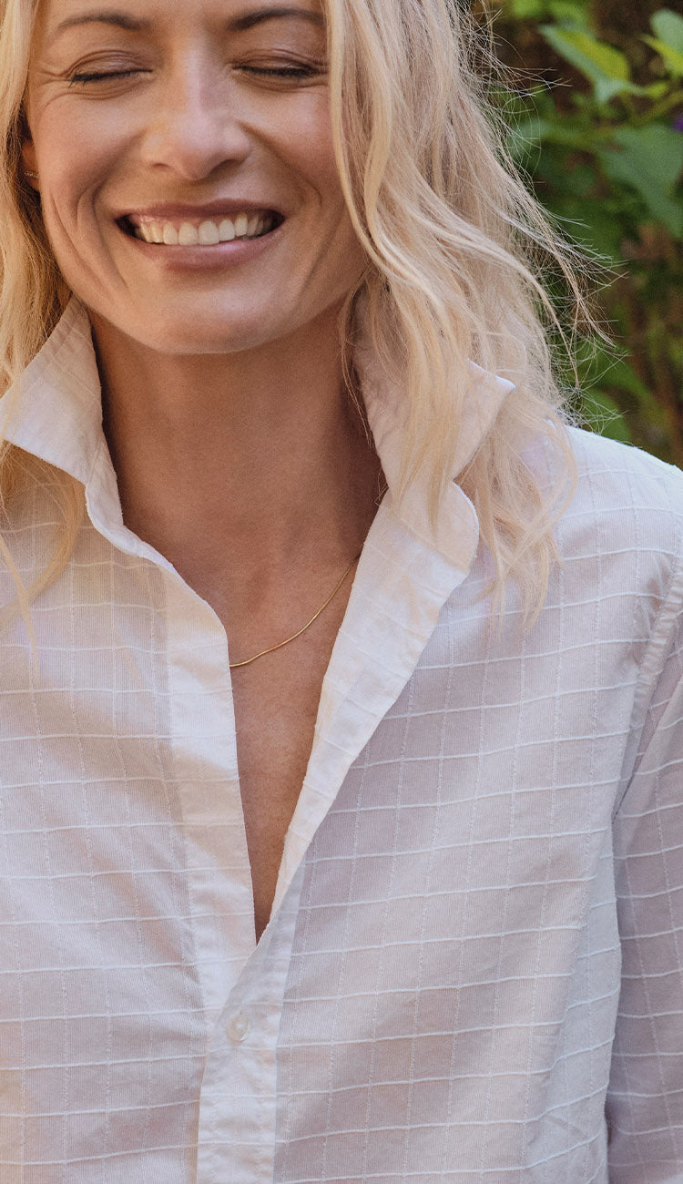 FRANK CLASSIC POPLIN TEXTURED WHITE GRID - PAULA AND CHLO