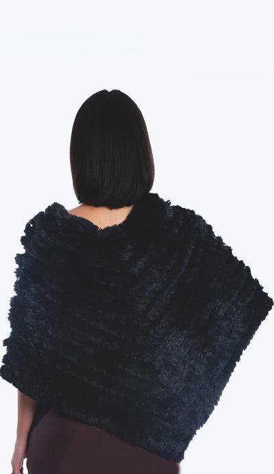 faux fur poncho black back view