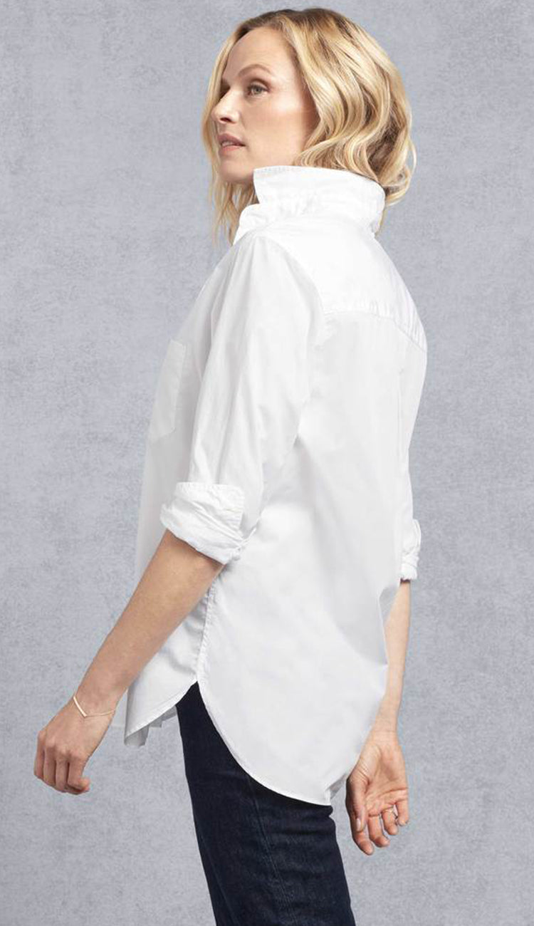 Joedy super fine poplin white button down shirt side view frank and eileen