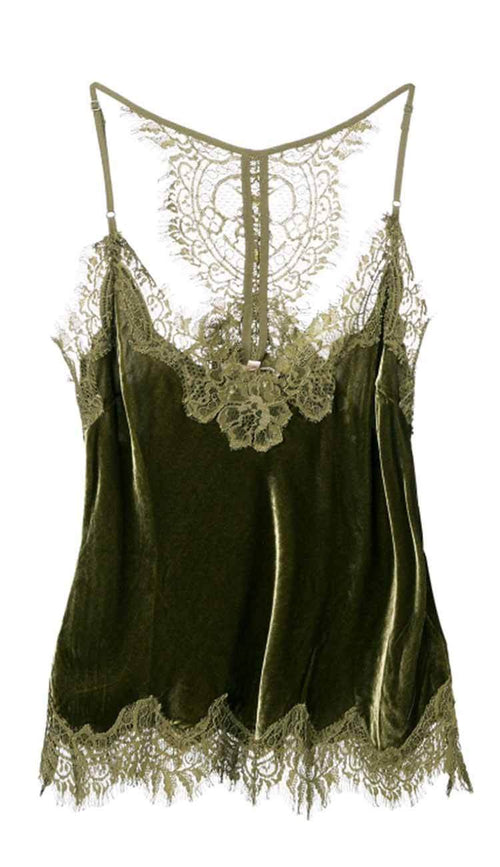 1387f710caf34 Velvet Cropped lace razorback cami duffle green by gold hawk
