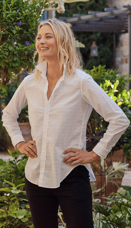 Fiona Sleeveless White Italian Chambray Button Down Shirt