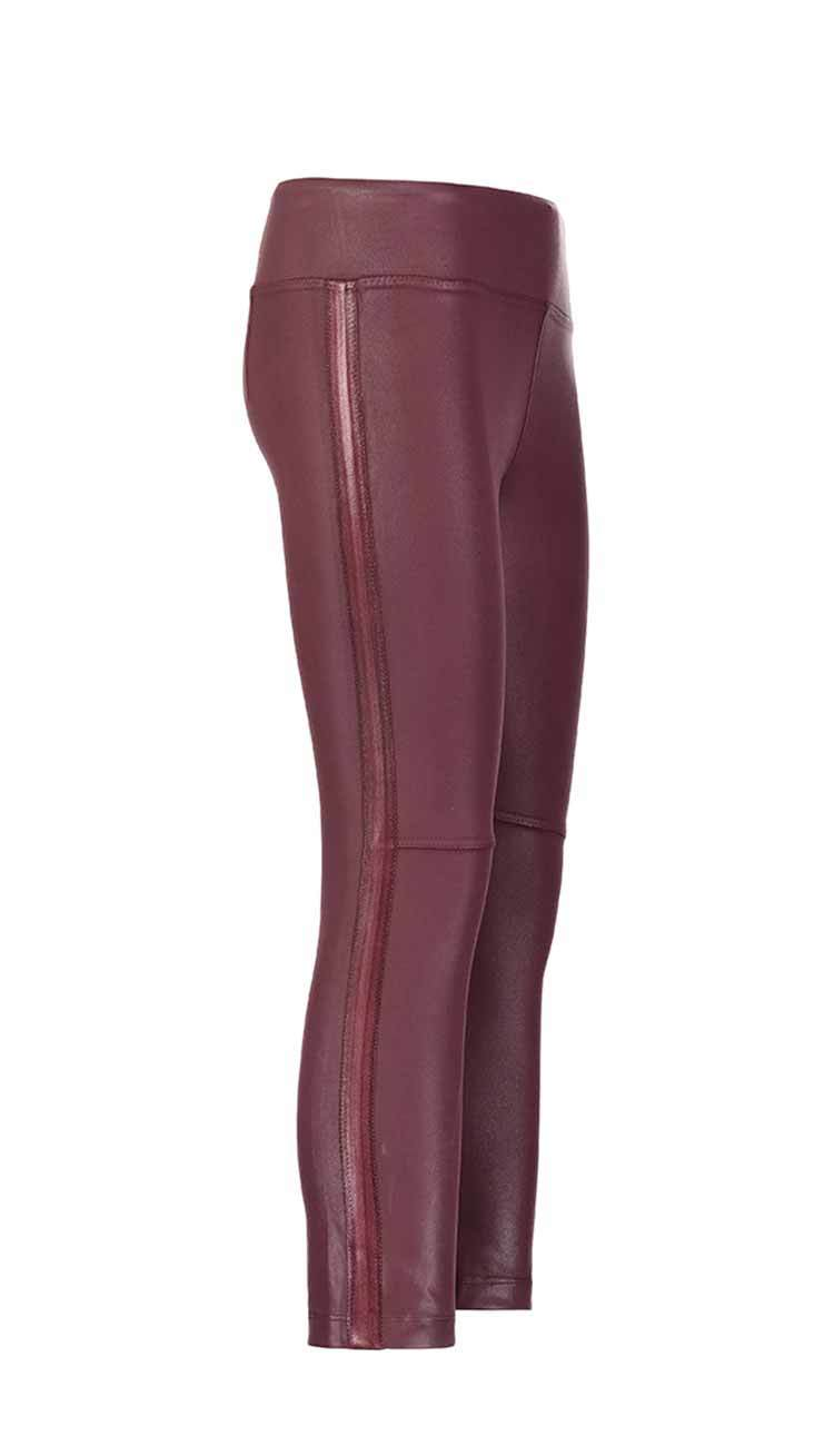 coated gemma skimmer mid-rise vegan leather by David Lerner in bordeaux side view