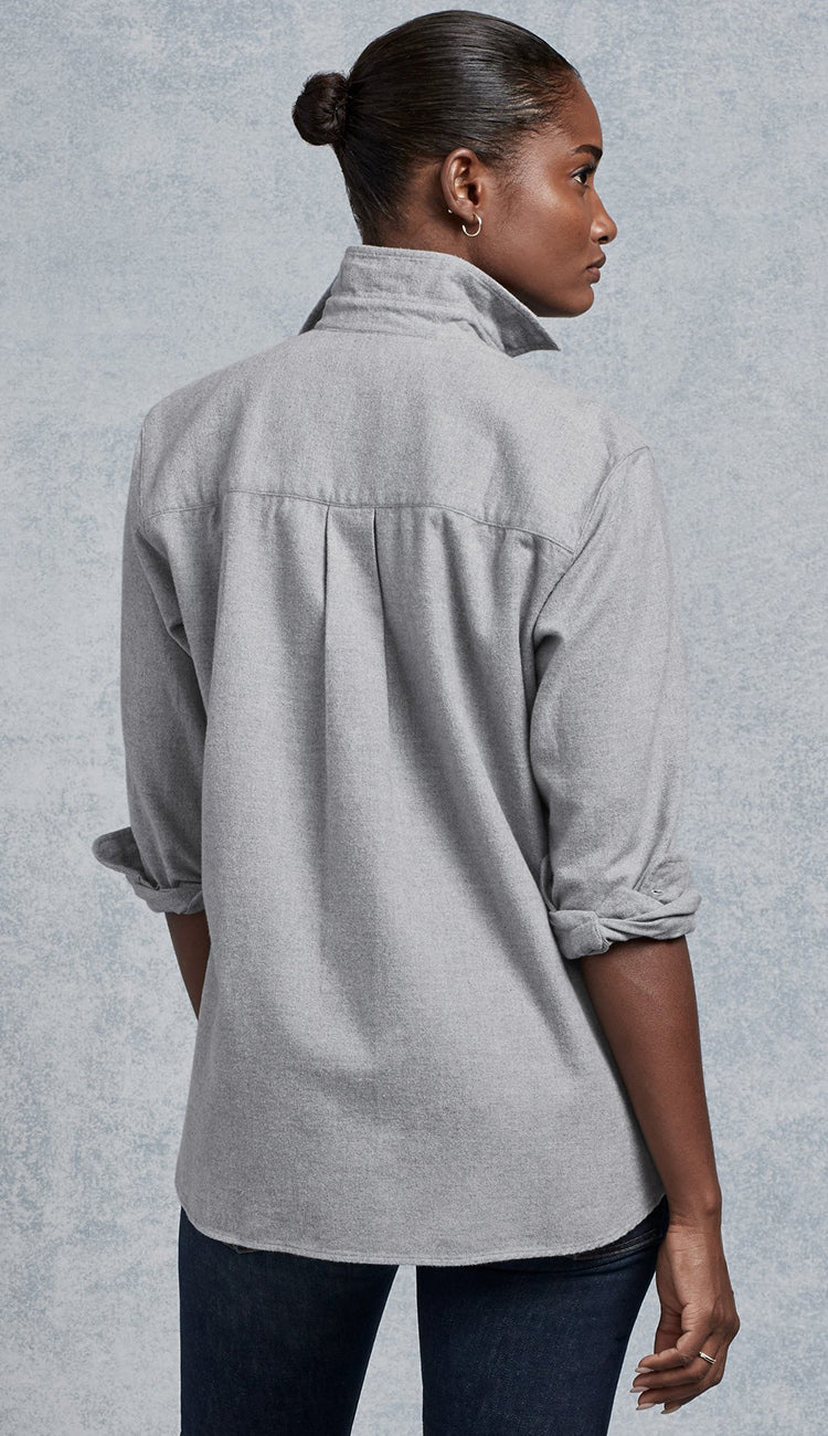 BACK VIEW OF JOEDY GREY FLANNEL SHIRT