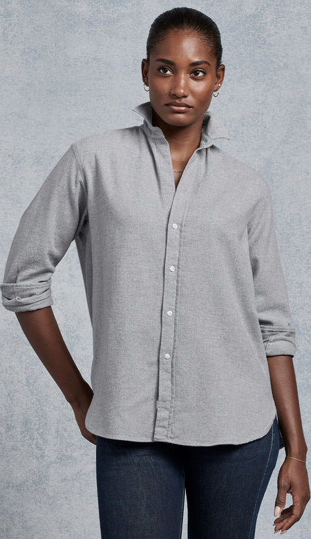 Frank Classic Poplin Textured White Grid - White Button Down Shirt