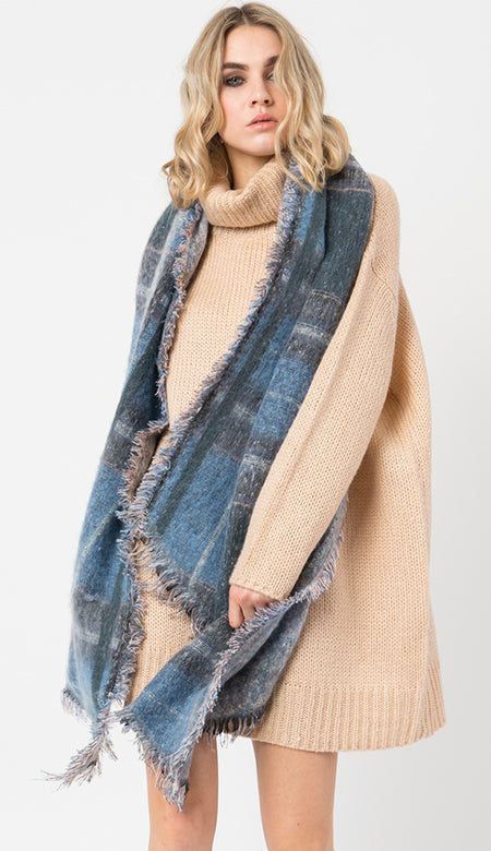 Knit Oversized Scarf  - Purple Plaid