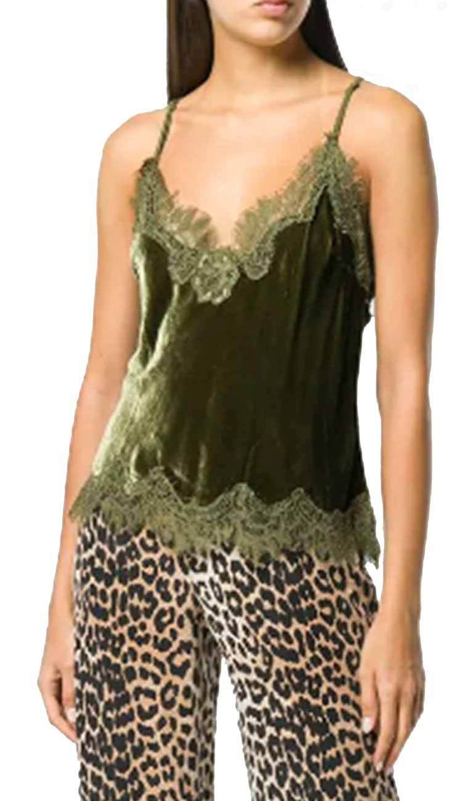 Velvet Cropped lace razorback cami duffle green by gold hawk - view 2