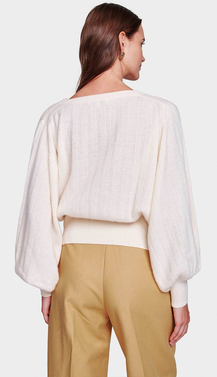 White and Warren Pleated Sleeve Crewneck in Pearl White bak view