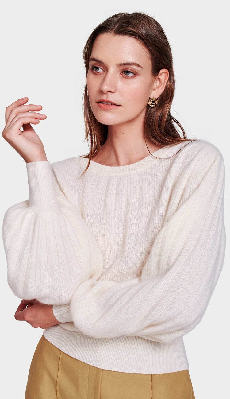 White and Warren Pleated Sleeve Crewneck in Pearl White