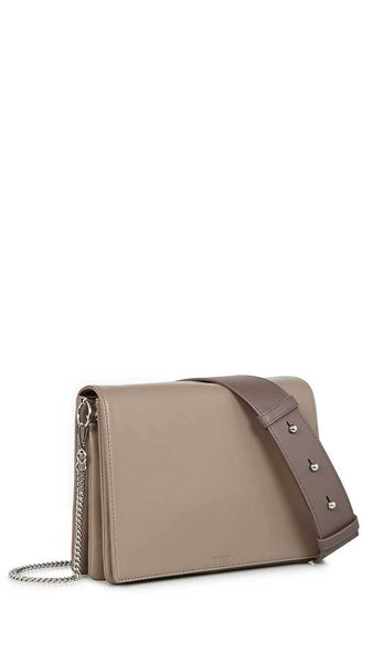 zep leather box bag in almond by ALLSAINTS side view