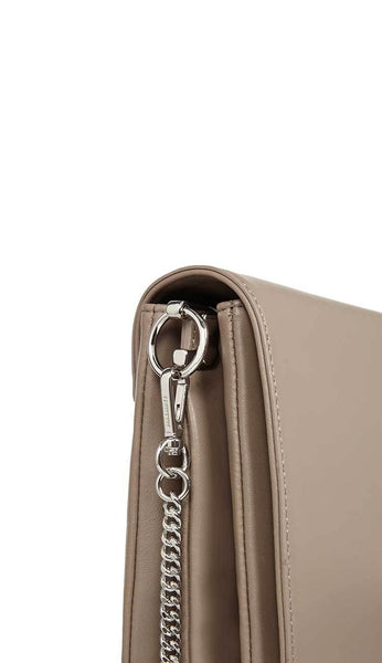 zep leather box bag in almond by ALLSAINTS side view with chain 2