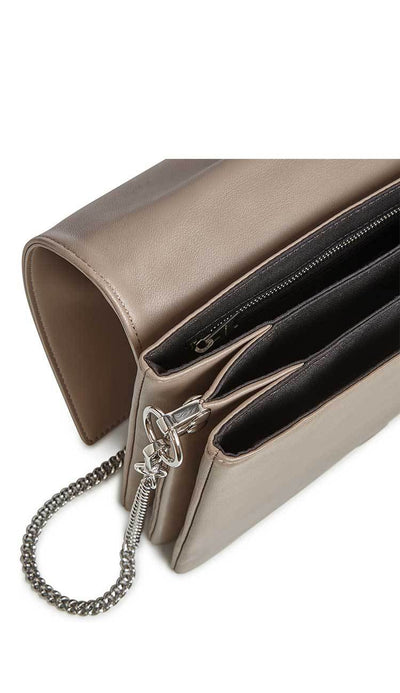 zep leather box bag in almond by ALLSAINTS interior view