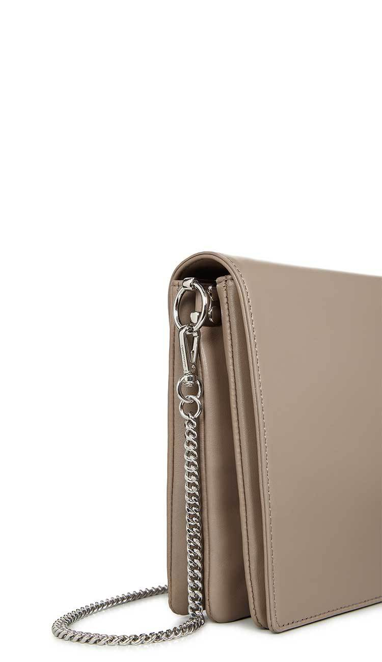 zep leather box bag in almond by ALLSAINTS side view with chain