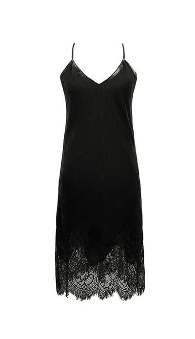 Anastasia Velvet Slip Dress - Black