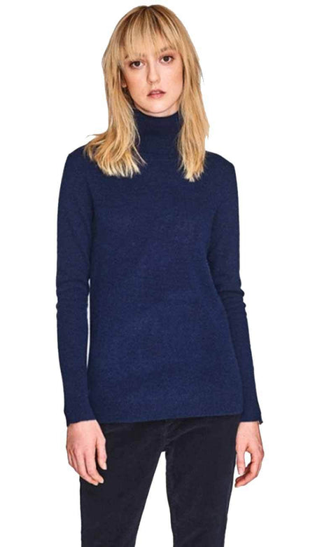 Cashmere Bell Sleeve Striped Crew Misty Grey Admiral Navy Blue