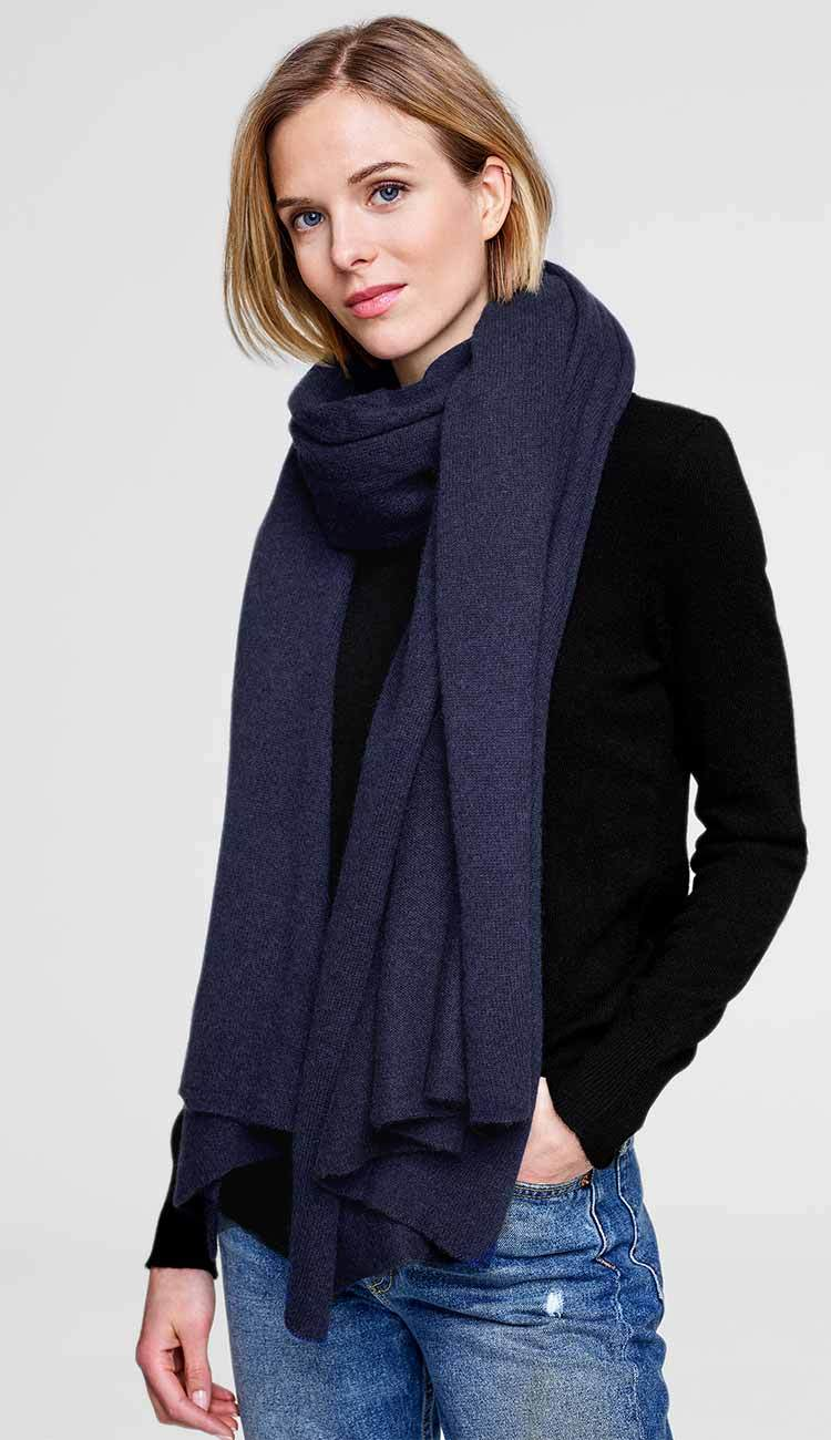 admiral navy blue heather travel wrap by white and warren