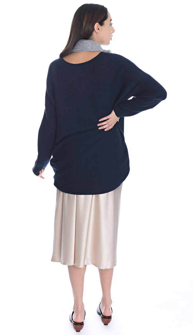 Ahlvar gallery Hanna Silk Skirt back view with Box Tunic Cashmere Sweater