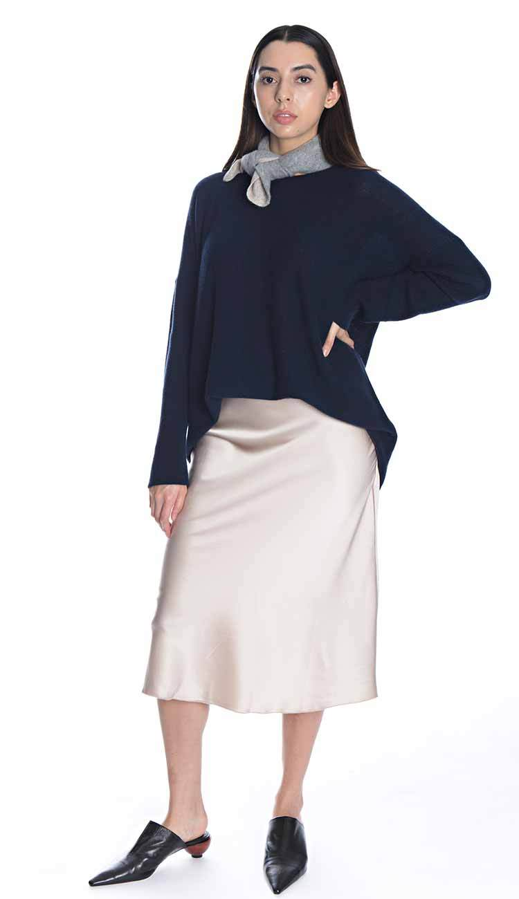 Hanna Silk Skirt paired with the Claudia Nichole Box Tunic and the White + Warren neckerchief